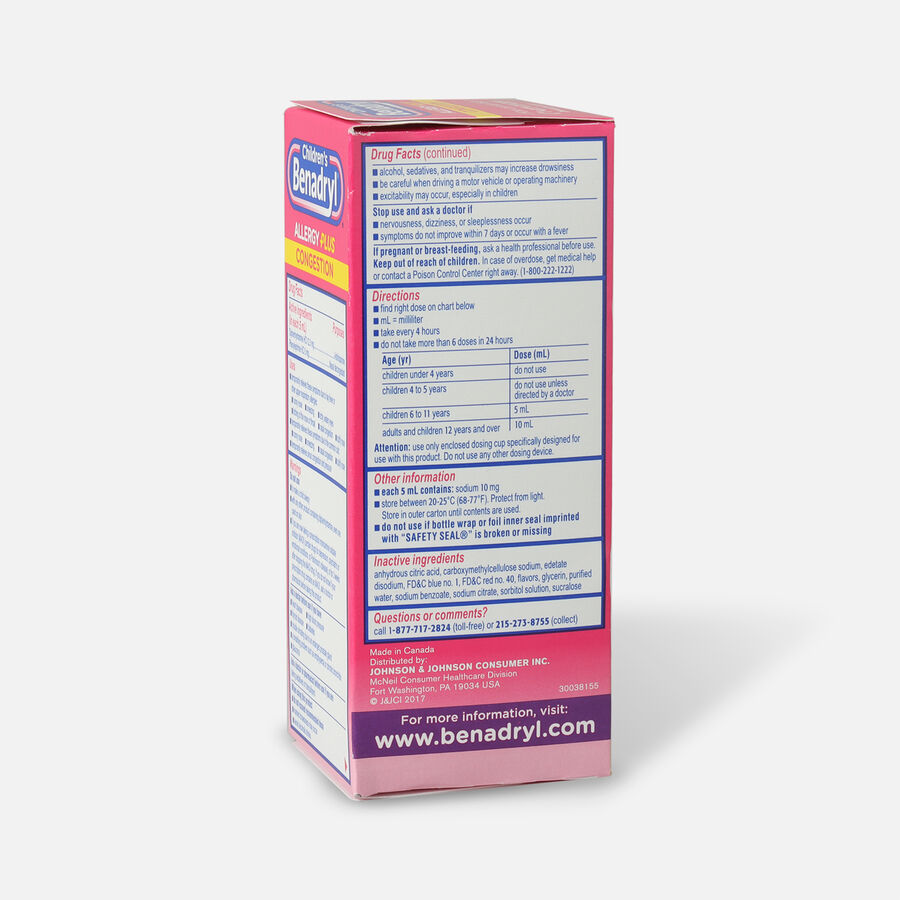 Benadryl-D Allergy & Sinus Liquid, Grape, 4 fl oz, , large image number 4