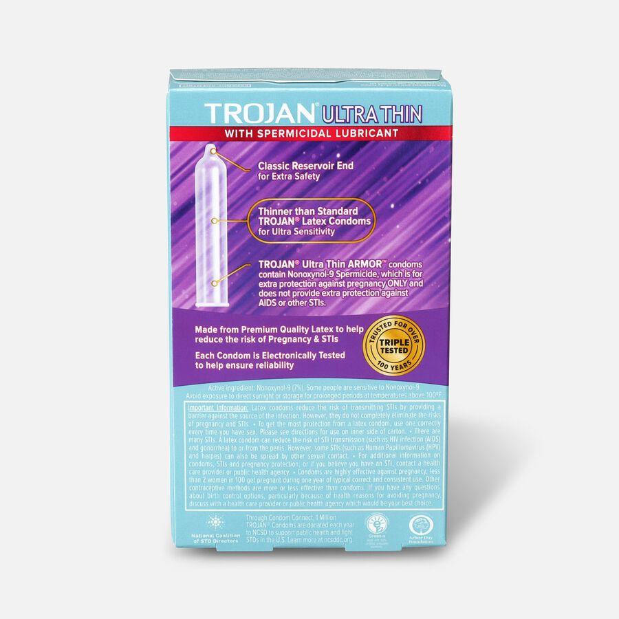 Trojan Ultra Thin Latex Condoms, Spermicidal 12 ea, , large image number 1