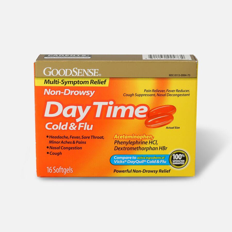 GoodSense® DayTime Cold & Flu Multi-Symptom Relief Softgels, , large image number 1