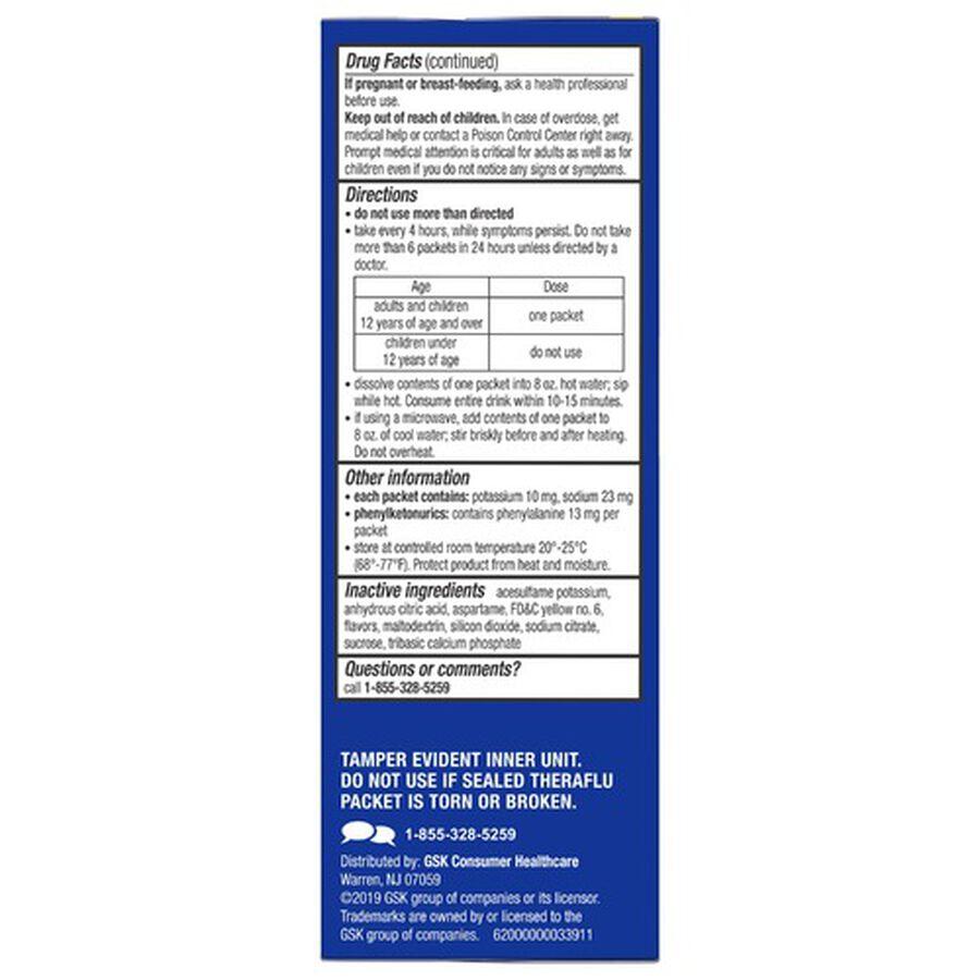 Theraflu Nighttime Multi-Symptom Severe Cold Hot Liquid Powder, Green Tea and Citrus Flavors, 6 ct, , large image number 1