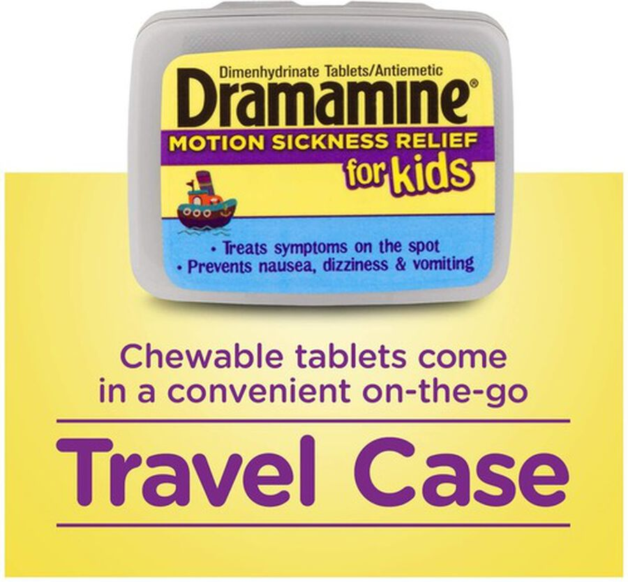 Dramamine Motion Sickness Relief for Kids, Grape Flavor, 8 ct, , large image number 4