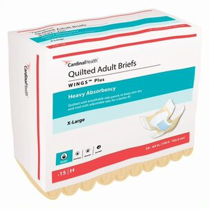 """WINGS™ Plus Quilted Briefs , Heavy Absorbency X-Large 59"""" - 64""""-15 pack"""