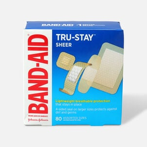 Band-Aid Sheer Adhesive Bandages, Assorted, 80 ea