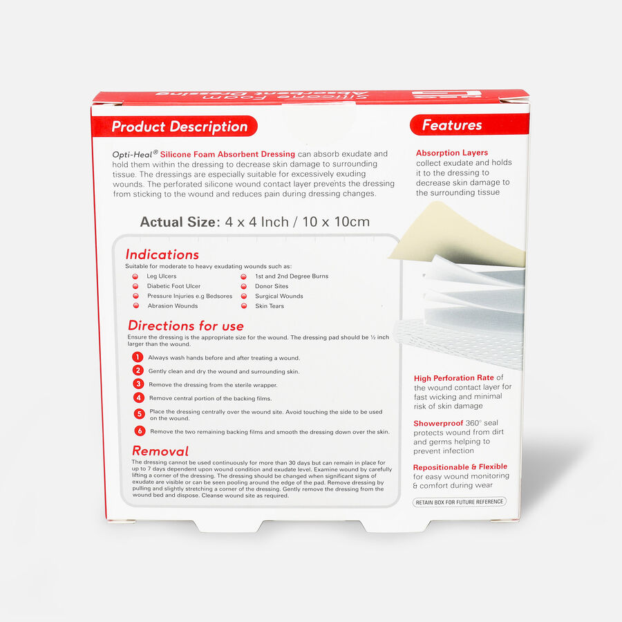 Neo G Silicone Foam Absorbent Dressing, 4 x 4, , large image number 2