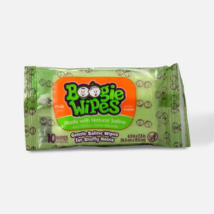 Boogie Wipes Saline Nose Wipes, Fresh Scent Travel Pack, 10ct