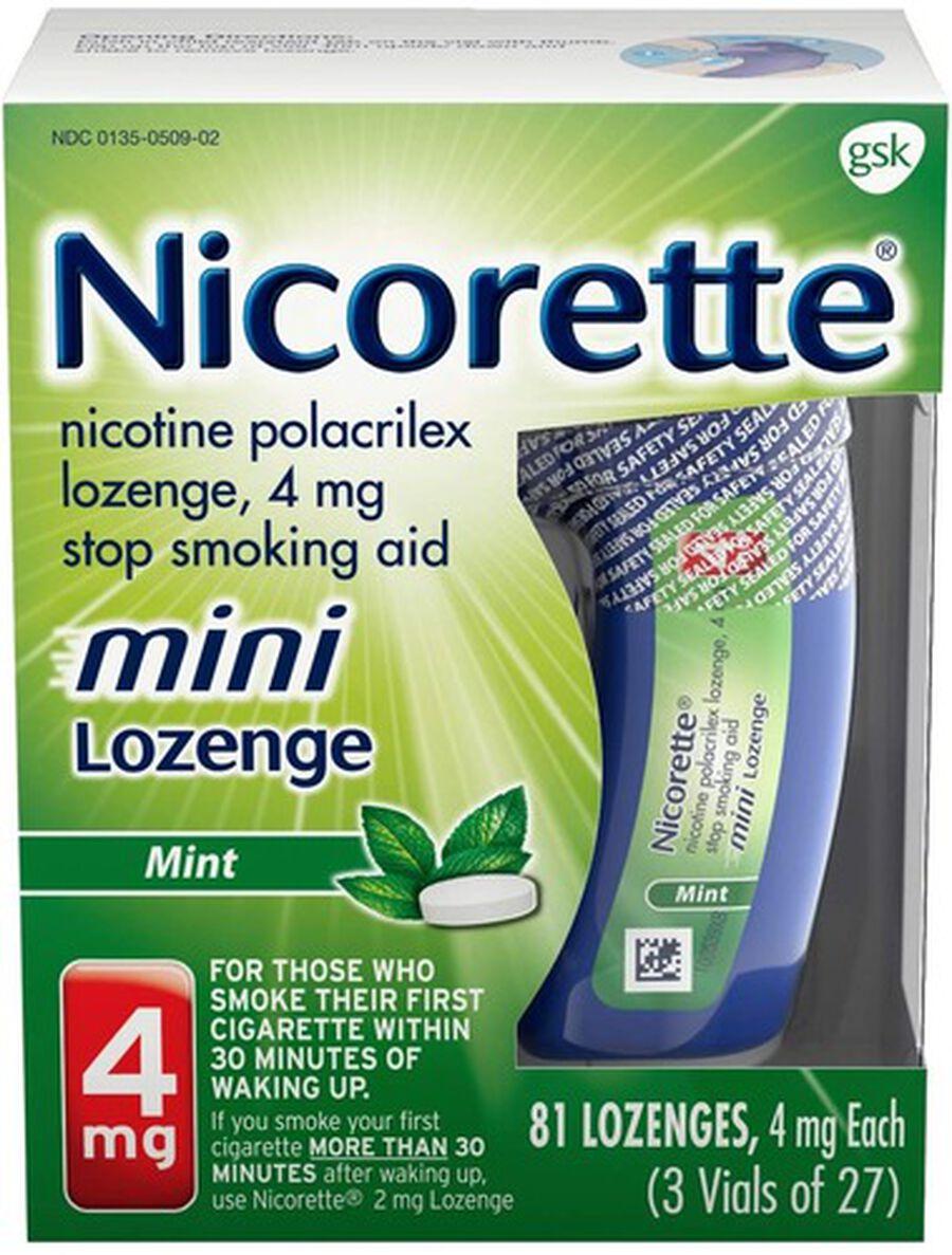 Nicorette Nicotine Lozenges, Mint, 4mg, 81 ct, , large image number 0