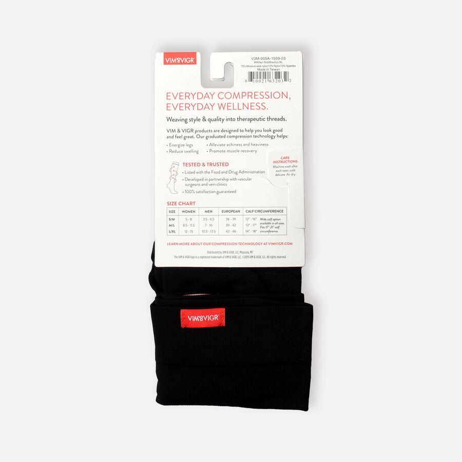 VIM & VIGR Moisture-Wick Nylon Socks, Solid Black, Wide Calf, 30-40 mmHg, , large image number 1
