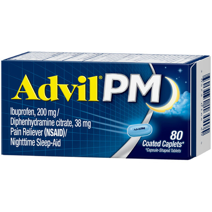 Advil Pain PM Reliever & Nighttime Sleep Aid Coated Caplets, 80 ct, , large image number 16