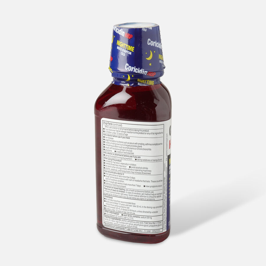 Coricidin HBP Nighttime Multi-Symptom Cold Syrup, Cherry,12 oz, , large image number 2