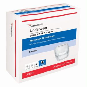 """SURE CARE™ Super Underwear with BreatheEasy™ Technology Maximum Absorbency, X-Large 48"""" - 66""""- 12 pack"""