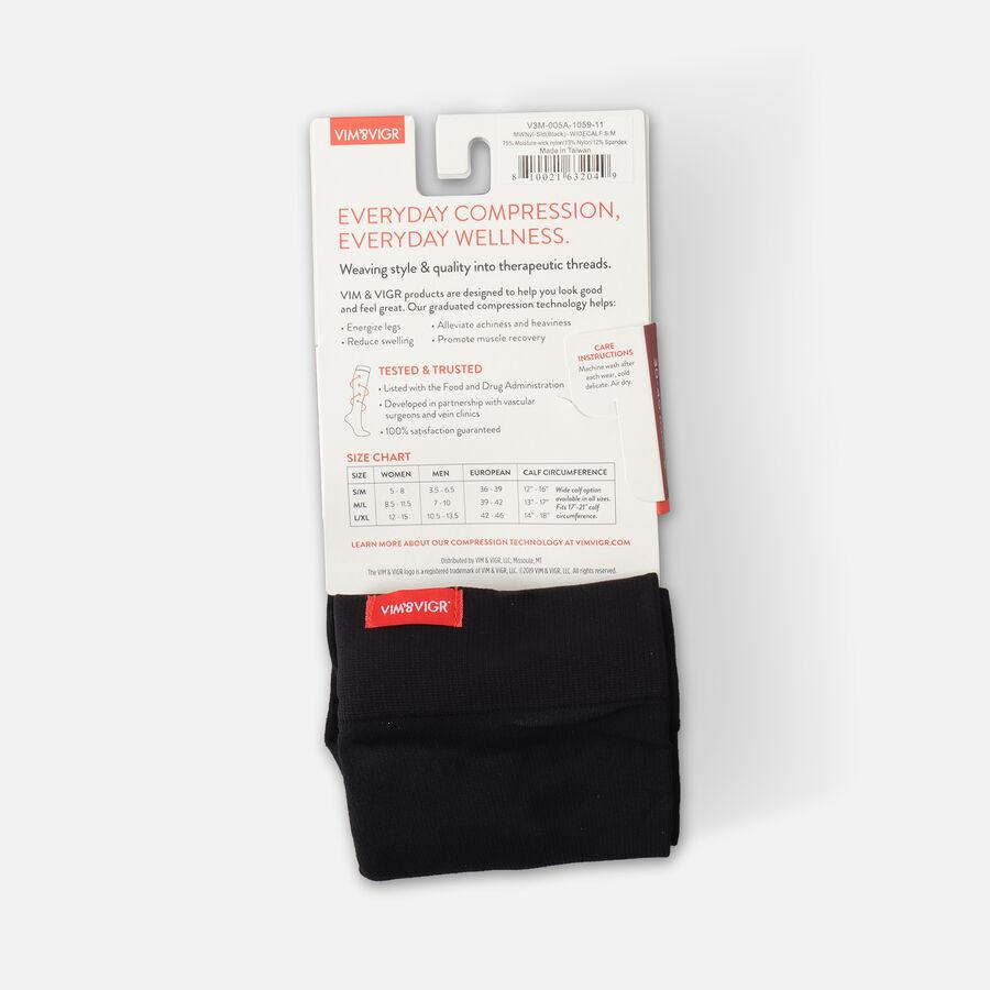 VIM & VIGR Moisture-Wick Nylon Socks, Solid Black, Wide Calf, 30-40 mmHg, , large image number 16