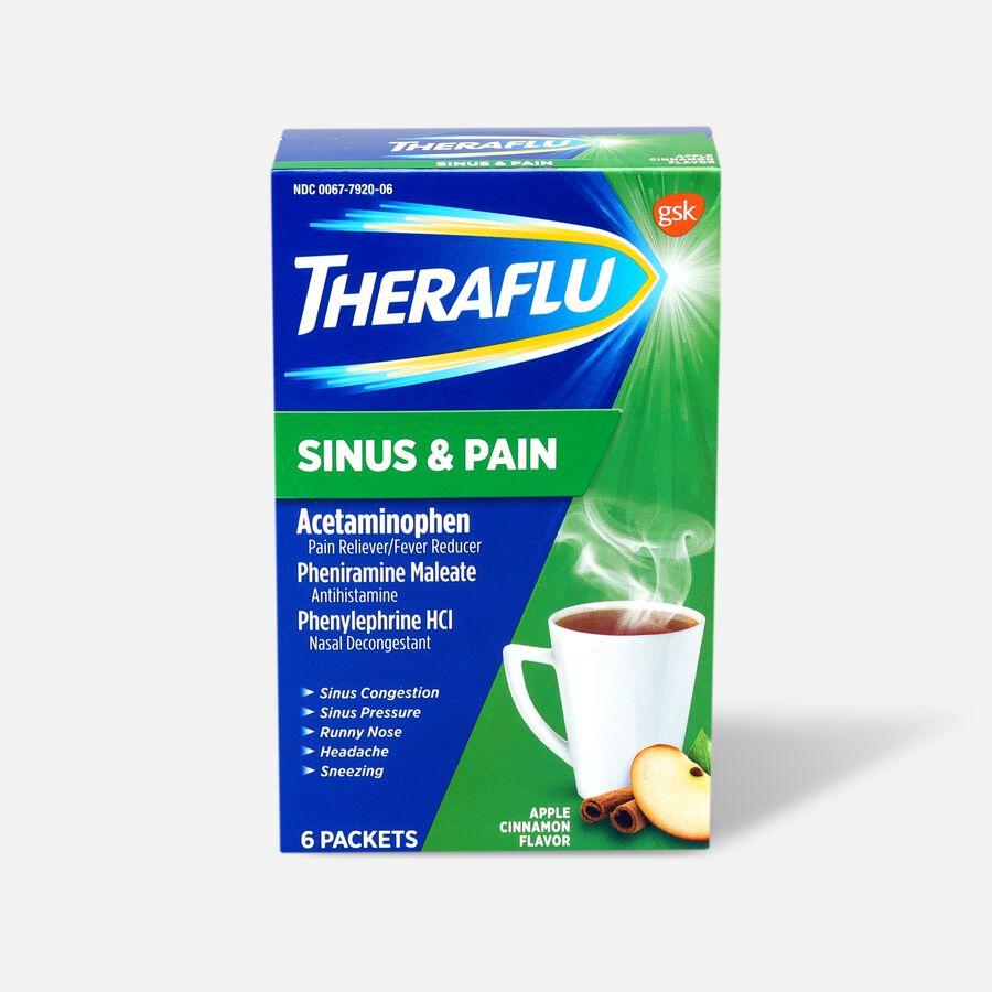 Theraflu Sinus & Pain Powder, Apple & Cinnamon, 6 ct, , large image number 0