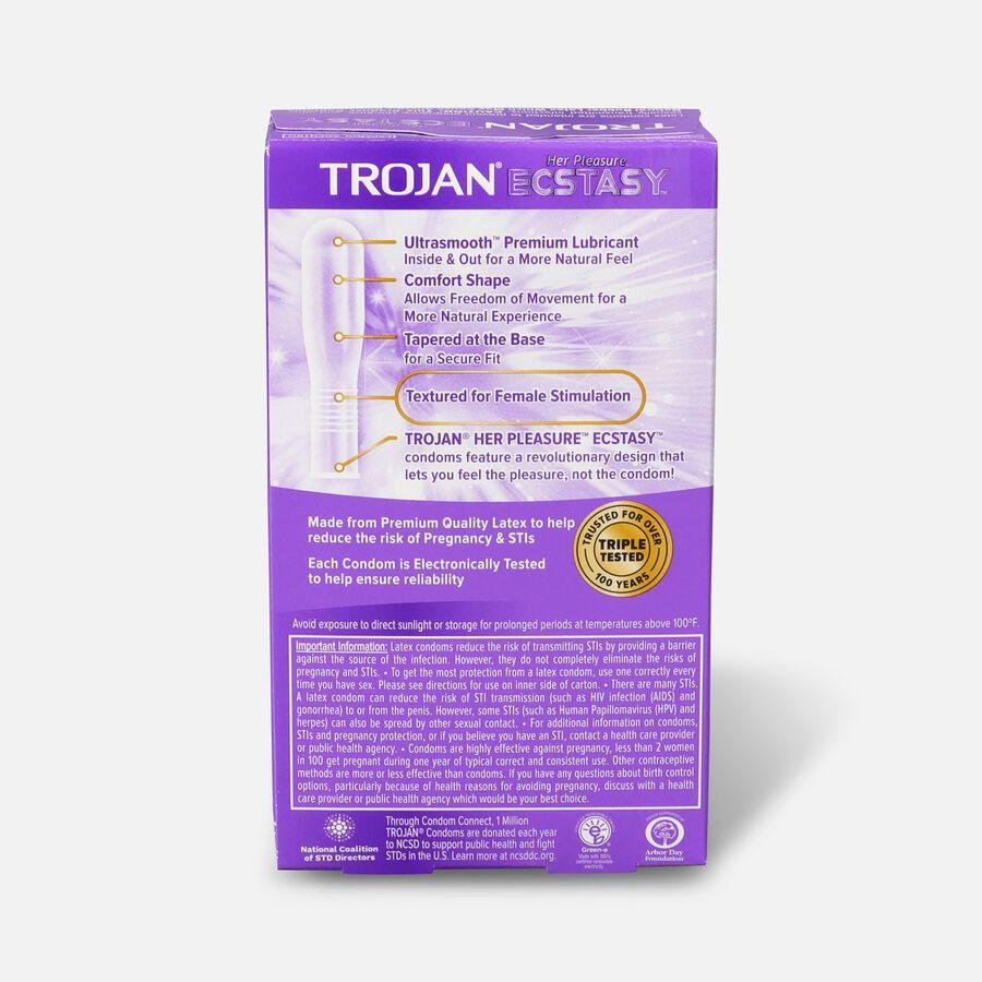 Trojan Her Pleasure Ecstasy, Premium Latex Condoms, 10 ea, , large image number 1