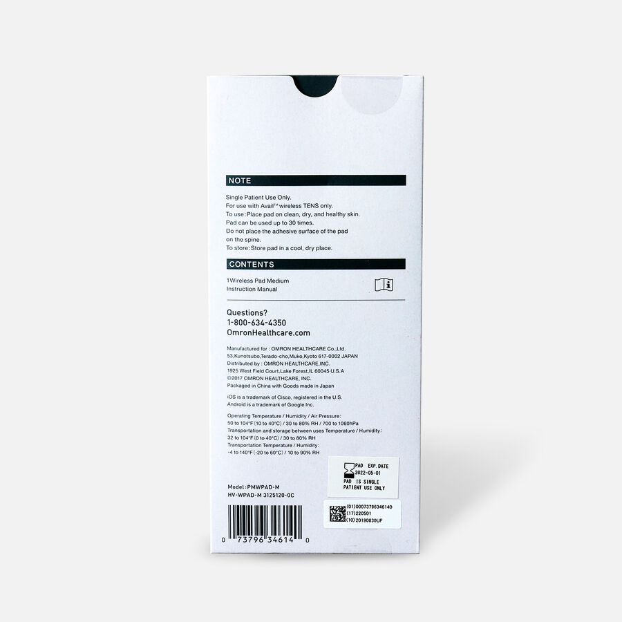 Omron Avail Wireless Pad Refill, Medium, , large image number 1