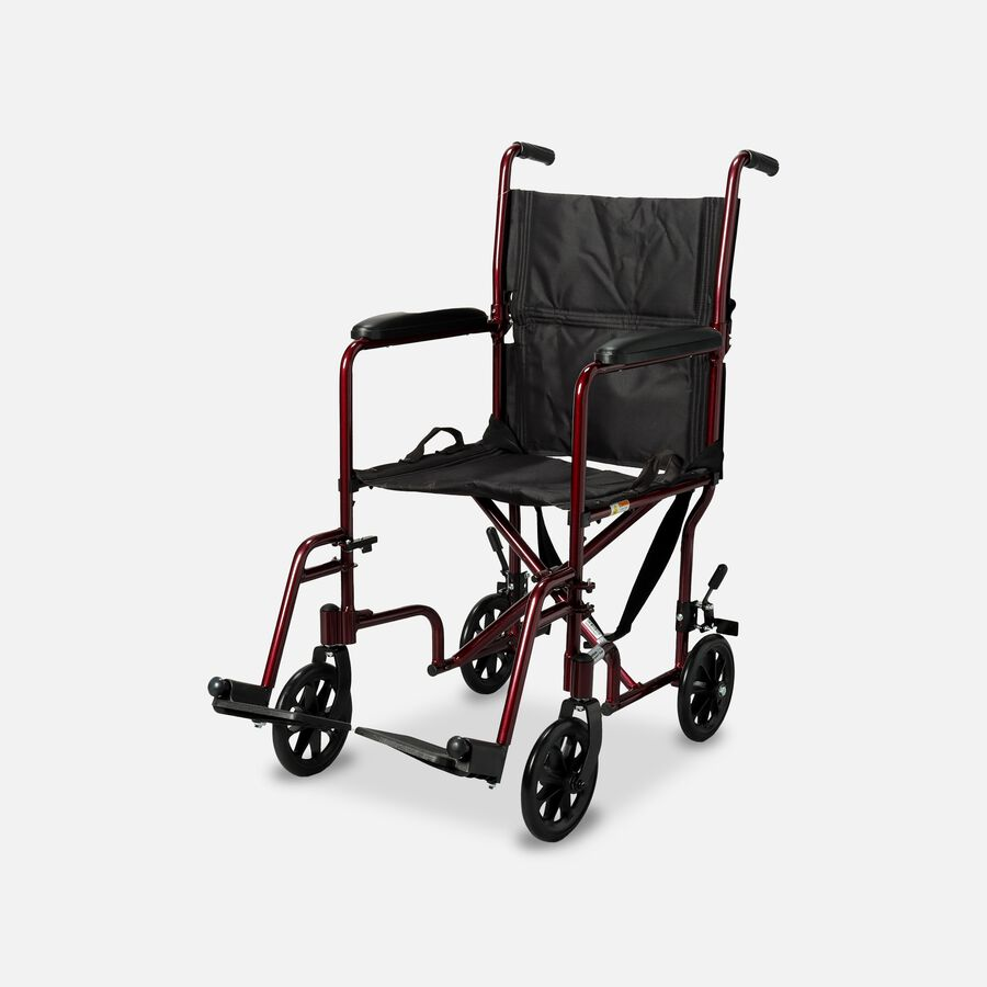 """Drive Lightweight Transport Chair, 19"""", Red , , large image number 1"""