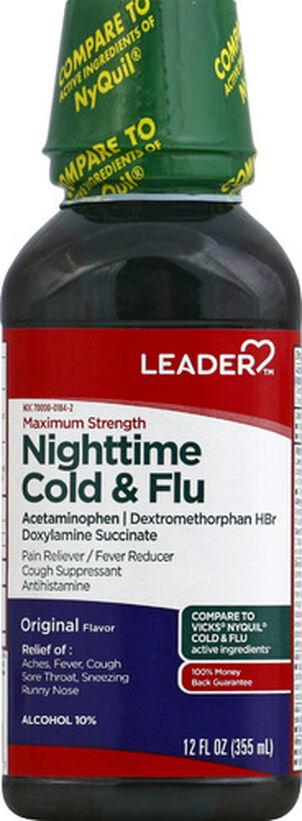 LEADER™ Cold & Flu Nighttime Maximum Strength Liquid 12 oz