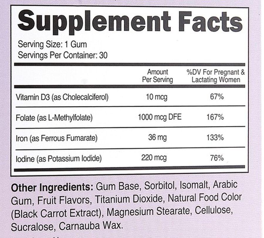 Zahler Gum-V Prenatal Gum, Kosher, 30 Cherry-Grape Flavored Gums, , large image number 10
