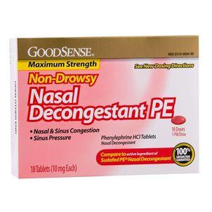 GoodSense® Nasal Decongestant Tablet 18 Count, 10mg Phenylephrine Hydrochloride