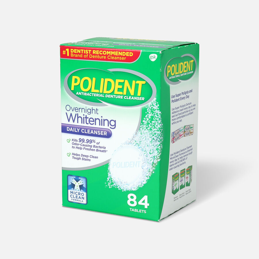 Polident Overnight Whitening Antibacterial Denture Cleanser Tablets, , large image number 2