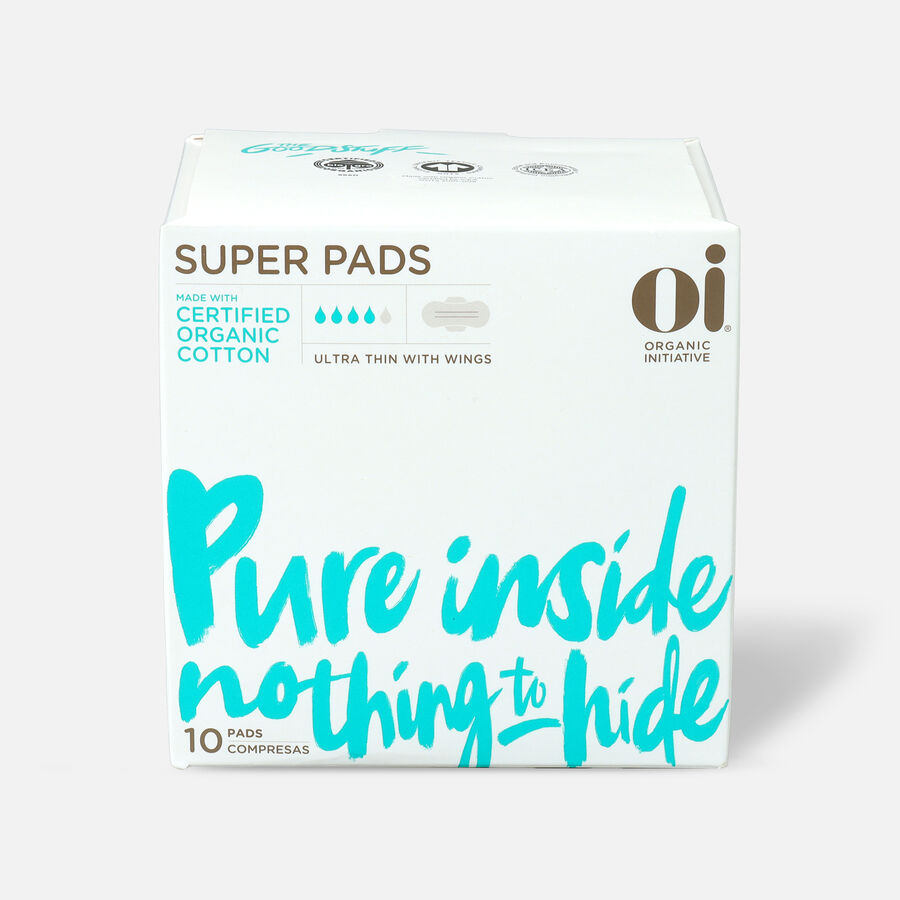 Oi Organic Cotton Ultra Thin Pads with Wings, Super, 10ct, , large image number 0