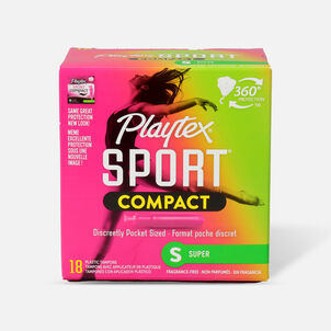 Playtex Sport Compact Super Tampons, Unscented, 18ct