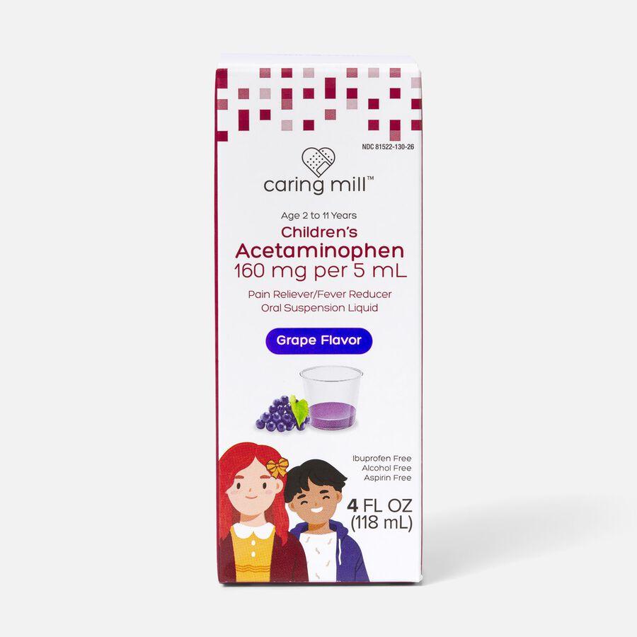 Caring Mill™ Children's Acetaminophen Pain Reliever/Fever Reducer Oral Suspension Liquid, Grape Flavor, 4 fl oz, , large image number 0