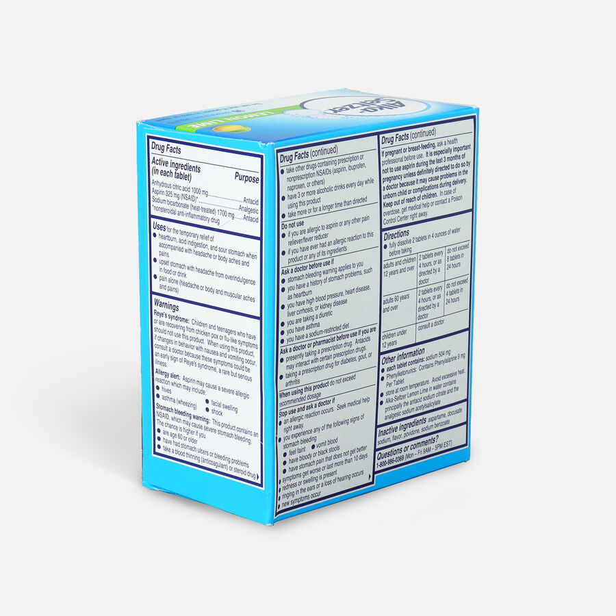 Alka-Seltzer, Lemon Lime Effervescent Tablets, 36 ea, , large image number 3