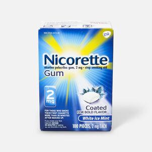 Nicorette Nicotine Gum, White Ice Mint, 4mg, 100 ct