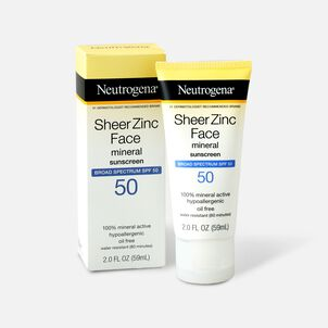 NEUTROGENA SHEER ZINC™ Face Dry-Touch Sunscreen Broad Spectrum SPF 50, 2 Fl. Oz.