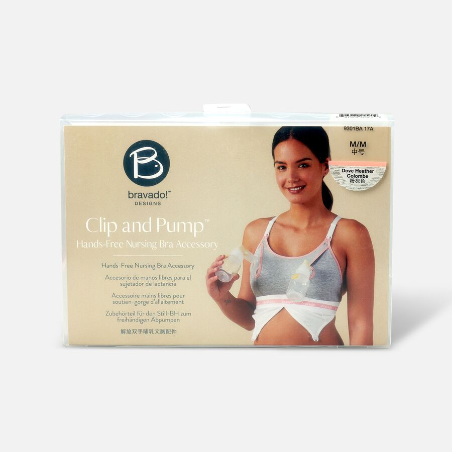 Clip and Pump Hands-Free Nursing Bra Accessory, Dove Heather, , large image number 1