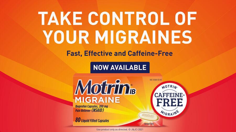 Motrin IB Migraine Liquid Filled Caps, 200 mg, 80 ct, , large image number 2