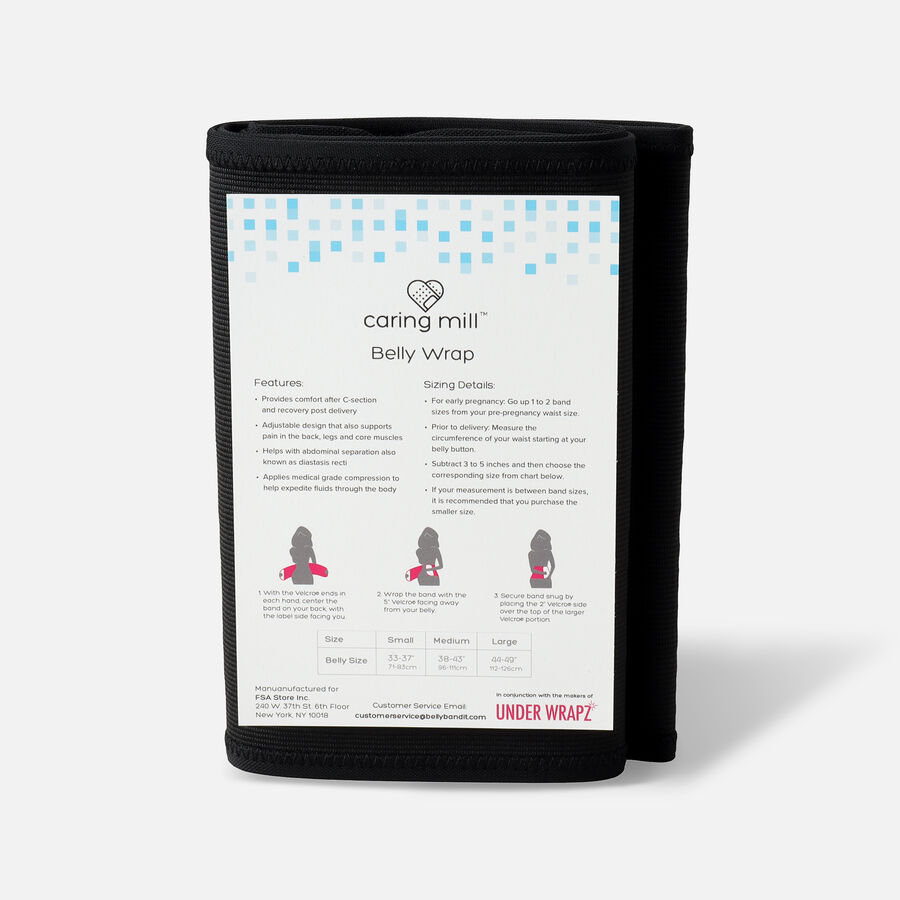 Caring Mill® Belly Wrap by Under Wrapz- Black, , large image number 1