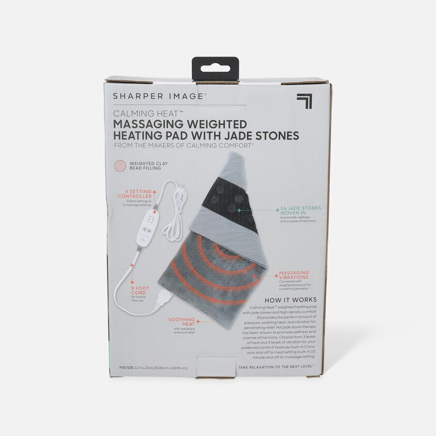 Sharper Image® Calming Heat, Jade Stone Massaging Weighted Heating Pad, 6 Setting, 4 lbs, , large image number 1