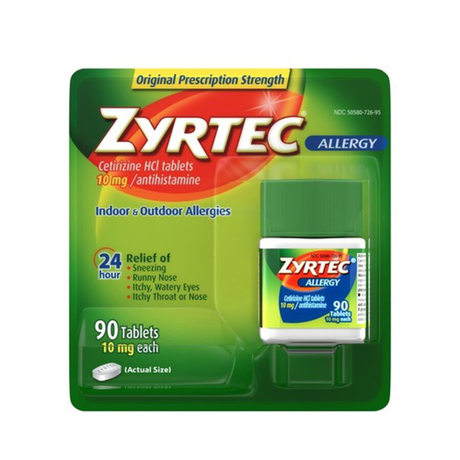 Zyrtec Adult Allergy Relief Tablets, 10mg, 90 ct, , large image number 0