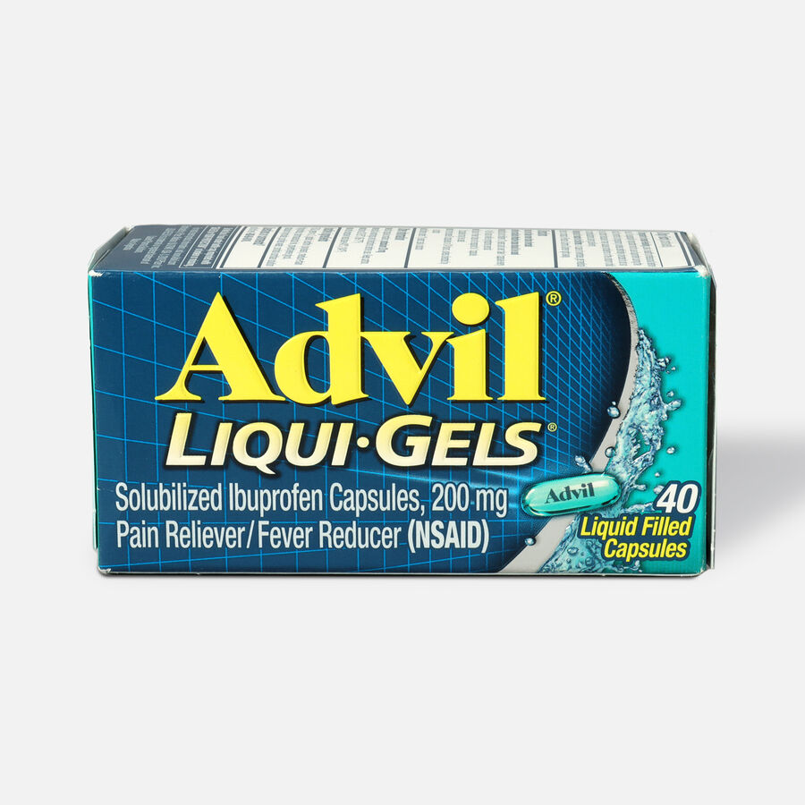 Advil Liqui-Gels Pain Reliever and Fever Reducer, Solubilized Ibuprofen 200mg, 40 Count, Liquid Fast Pain Relief, , large image number 0