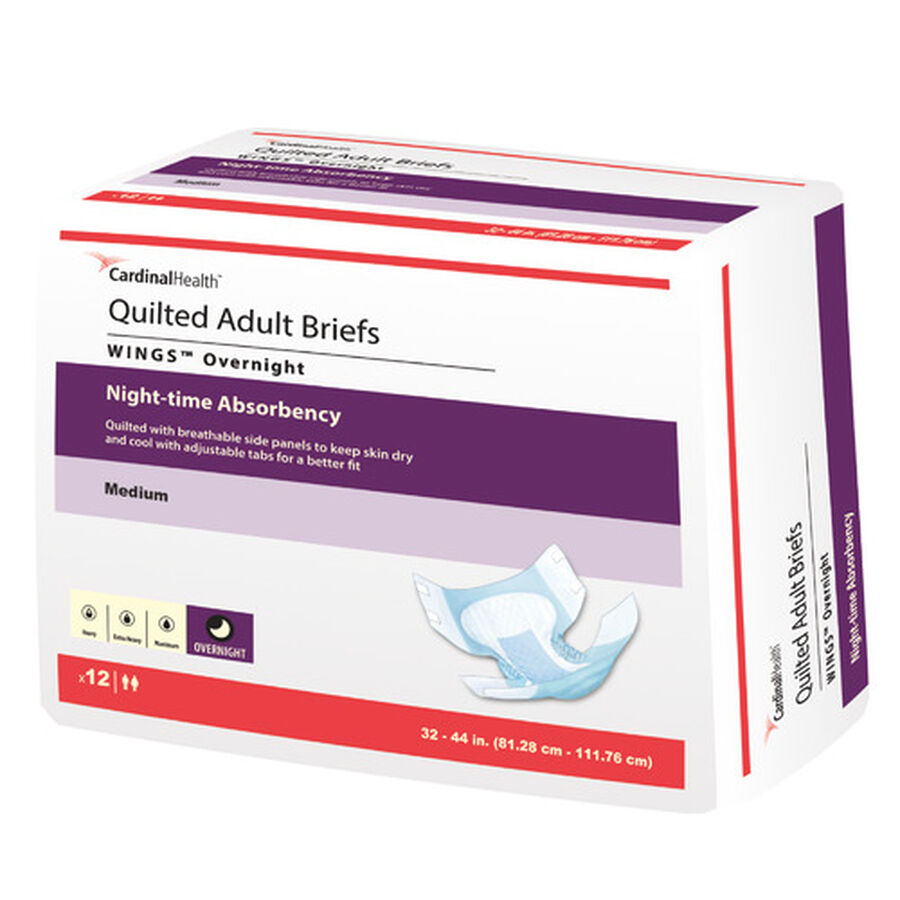 Cardinal Health WINGS™ Overnight Quilted Adult Briefs Night-Time Absorbency, , large image number 0