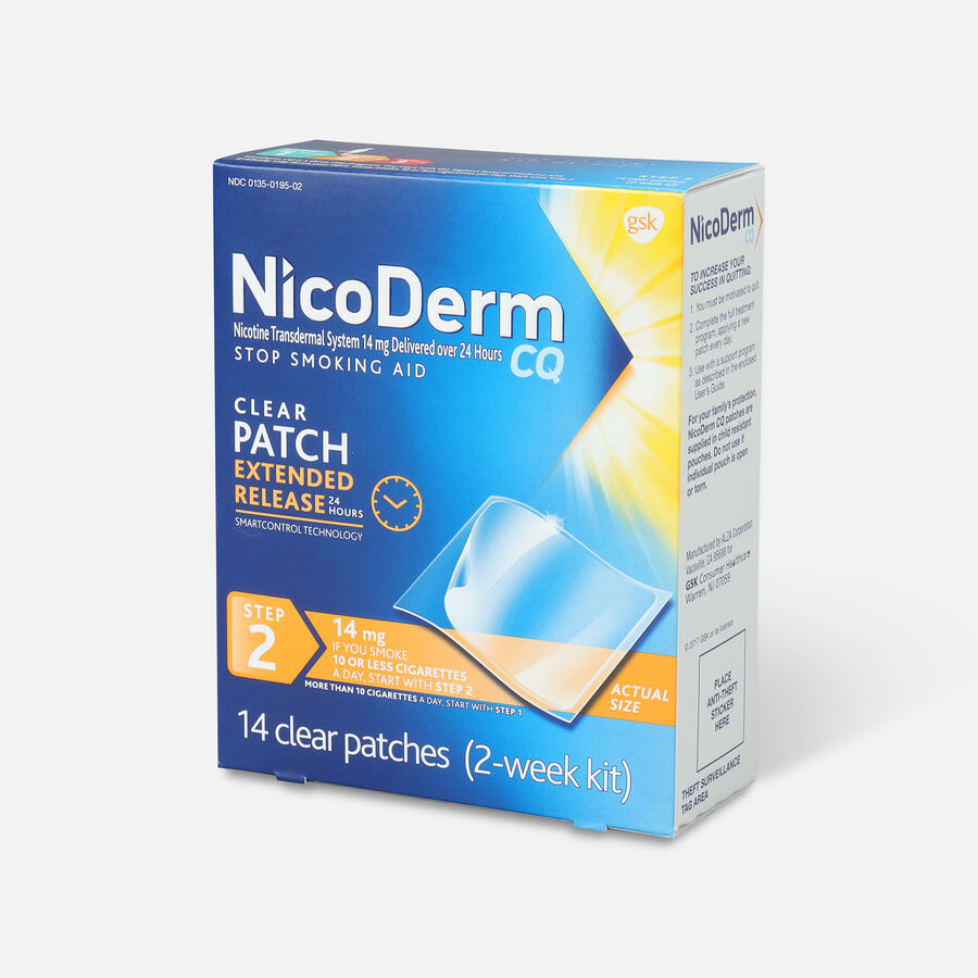 Nicoderm CQ Clear Patches, Step 2 to Quit Smoking, 14mg, 14 ct, , large image number 2