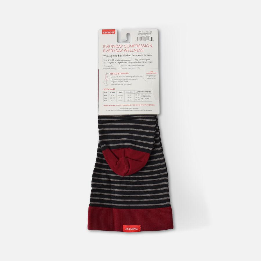 VIM & VIGR Nylon Socks, Little Stripe Black & Gray, 30-40 mmHg, , large image number 2