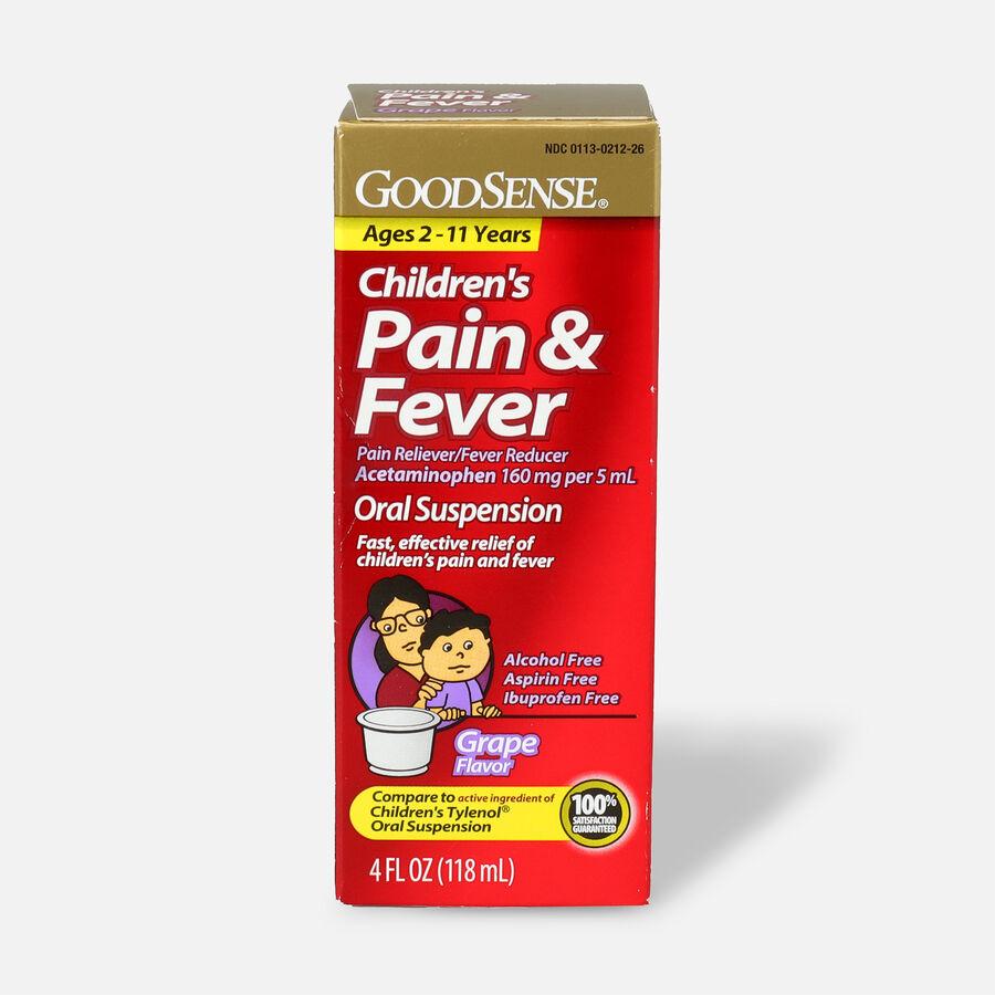 GoodSense® Children's Pain & Fever Oral Suspension, Acetaminophen 160 mg per 5 mL, Grape Flavor, 4 fl oz, , large image number 0