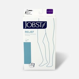 BSN Jobst Unisex Relief Thigh-High Extra-Firm Compression Stockings, Open Toe, Silicone Dot Band, Medium, Beige