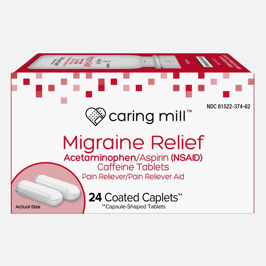 Caring Mill™ Migraine Relief Acetaminophen/Aspirin (NSAID) Caffeine Tablets, 24 Coated Caplets, , large image number 0