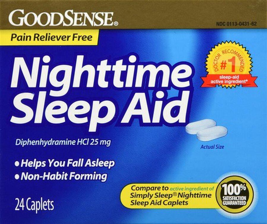 GoodSense® Night Time Sleep Aid 25 MG Caplets, 24 ct, , large image number 0