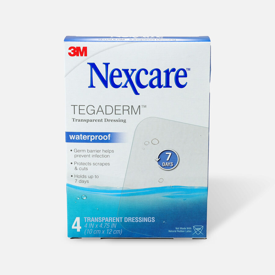 Nexcare Tegaderm Transparent Dressing, 4 in. x 4 3/4 in. , 4 ea, , large image number 0