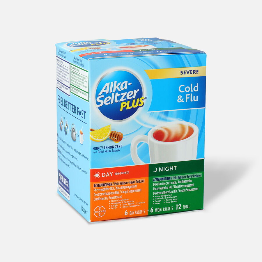 Alka-Seltzer Plus Powder - Severe Cold & Flu, Day & Night Powder Packets, Honey Lemon, 12ct, , large image number 2