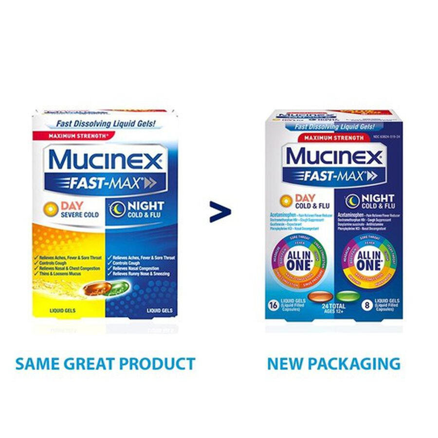 Mucinex Fast-Max Liquid Gels Day Night Cold and Flu 24 ct, , large image number 2