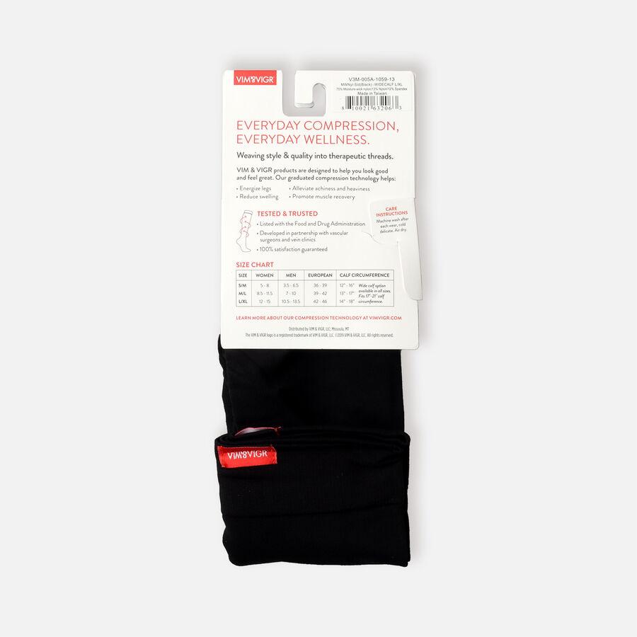 VIM & VIGR Moisture-Wick Nylon Socks, Solid Black, Wide Calf, 30-40 mmHg, , large image number 10