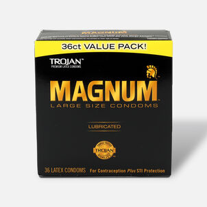 Trojan Magnum Lubricated Latex Condoms, Large Size, 36 ea