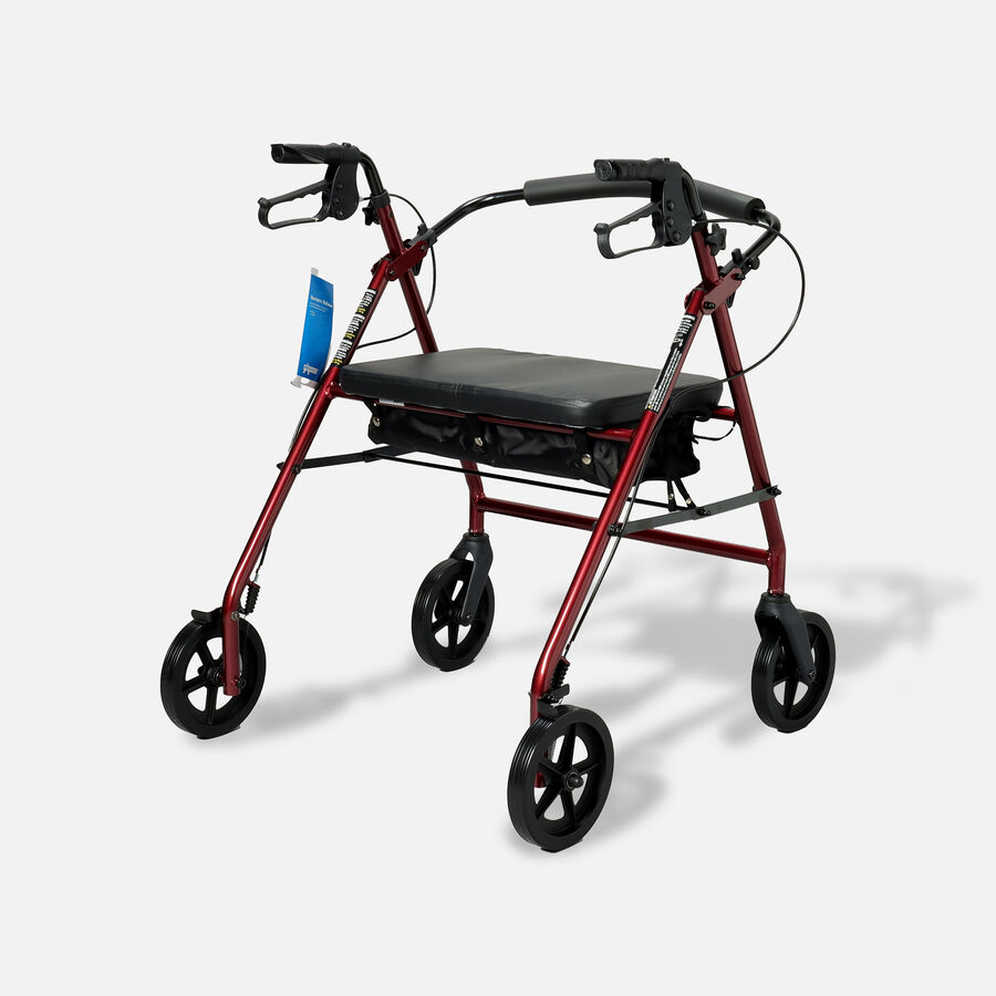 "ProBasics Aluminum Bariatric Rollator, 8"" Wheels, Burgundy, 400 lb Weight Capacity, , large image number 1"