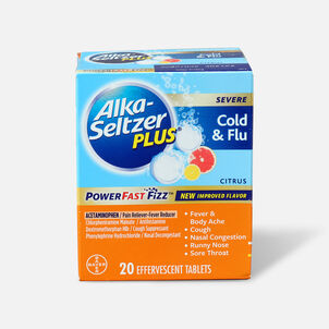 Alka-Seltzer Plus Severe Cold & Flu Powerfast Fizz Tablets, Citrus - 20 ct