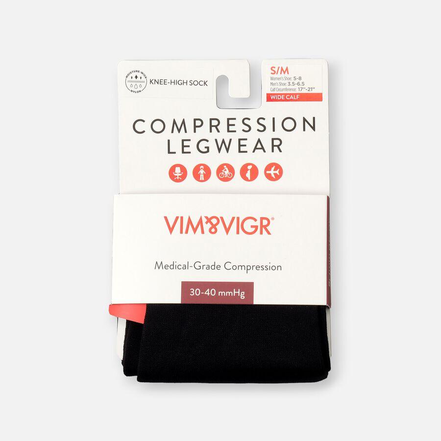 VIM & VIGR Moisture-Wick Nylon Compression Socks, Solid Black, Wide Calf, 30-40 mmHg, , large image number 6